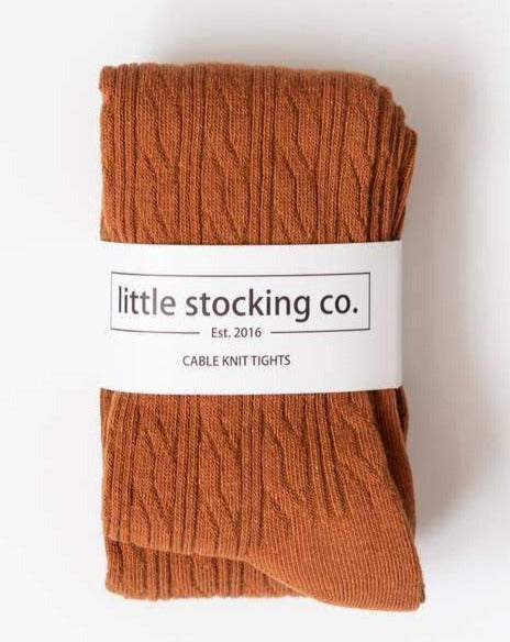 Sugar Almond Cable Knit Tights | Little Stocking Co.