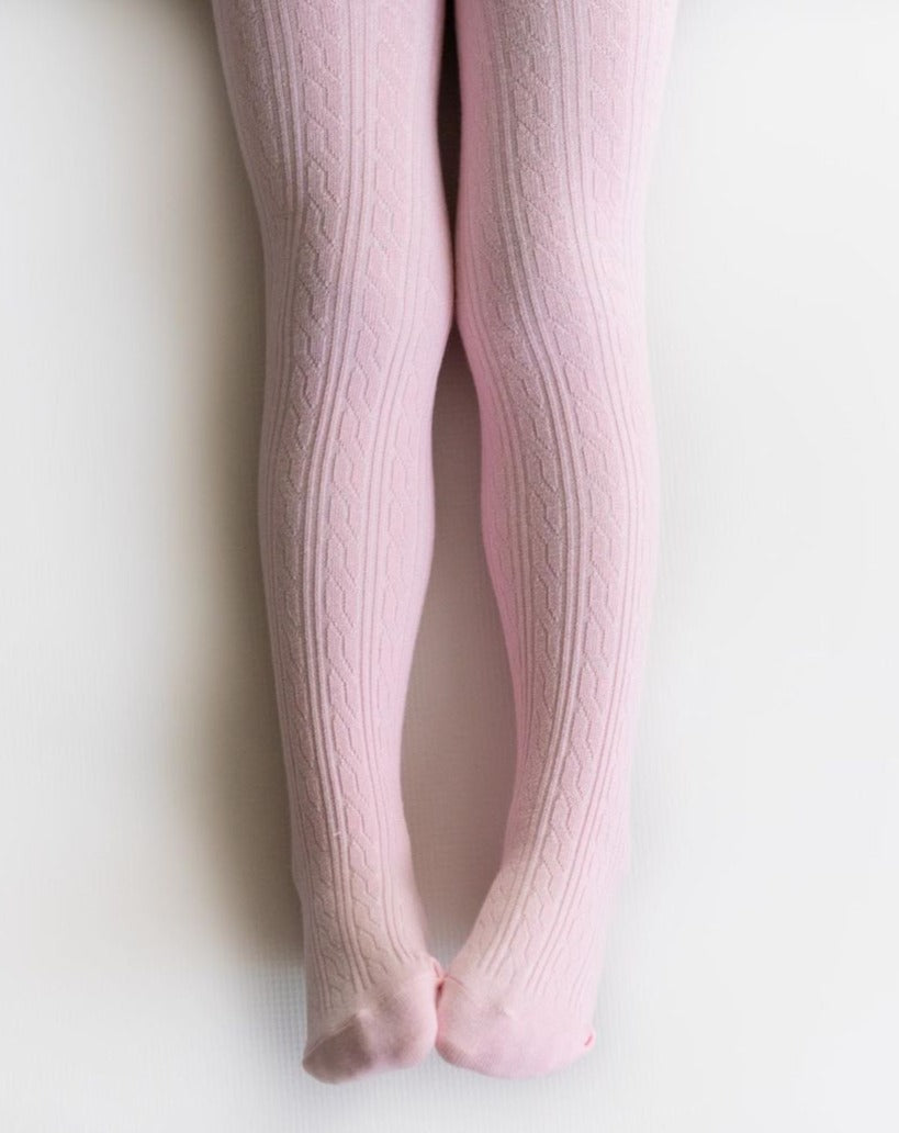 Blush Cable Knit Tights