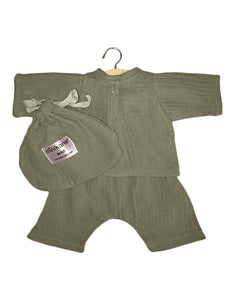 Minikane Mao cotton double gauze set olive