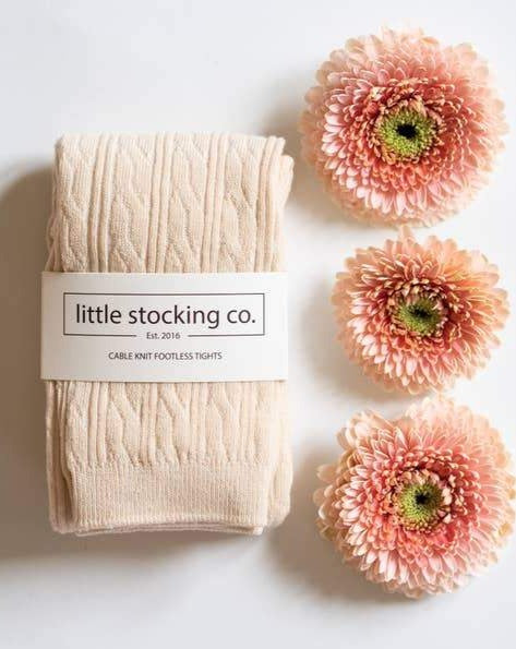 Little Stocking Co. Cable Footless Tights Vanilla