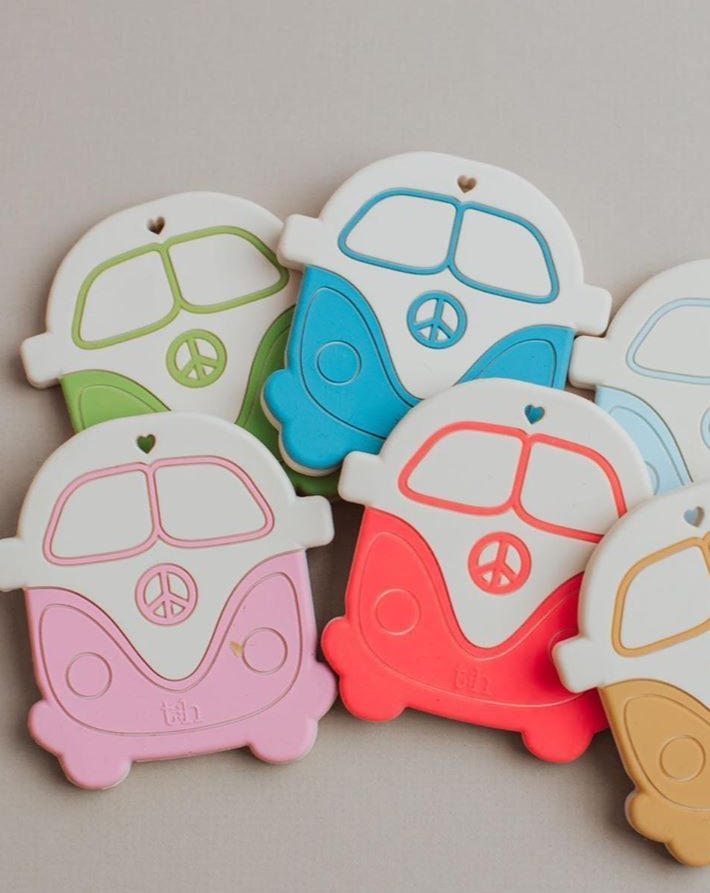 Silicone Teether Peace Vintage Bus | Three Hearts | BPA free
