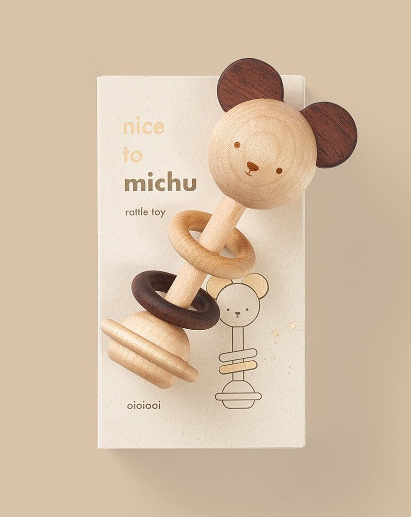 Nice To Michu Wooden Baby Rattle