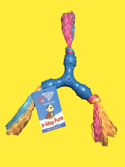 PAWZ TOYZ 3-WAY FUNZ 'N' ROPE PET DOG PUPPY TEETHING AID CHEW TOY - TOUGH DESIGN
