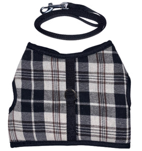 PET CAT HARNESS & LEAD SET - PLAID DESIGN - PET ACCESSORIES - SUITABLE FOR SMALL DOGS OR PUPPIES