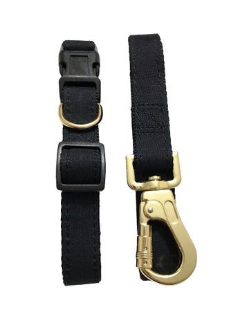 black collar lead set gold tone buckle & clasp durable nylon webbing pet accessories