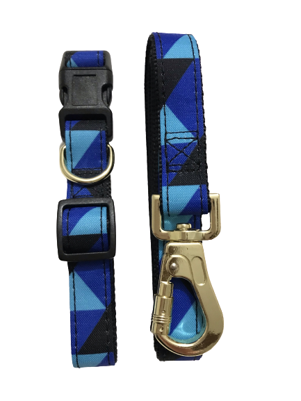 blue light blue black pattern dog collar & lead set gold tone buckle & clasp quick release buckle