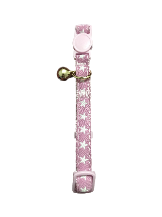 PINK COLOURED STARRY DESIGN CAT COLLAR WITH GOLD TONE METAL BELL- SMALL -