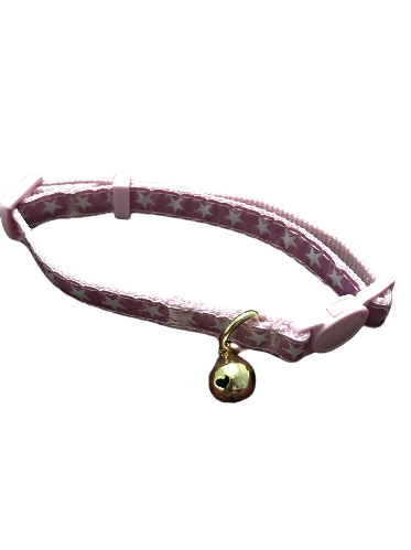 cat collar pink colour starry design gold tone removable metal bell