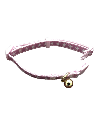 cat collar pink starry design gold tone removable bell