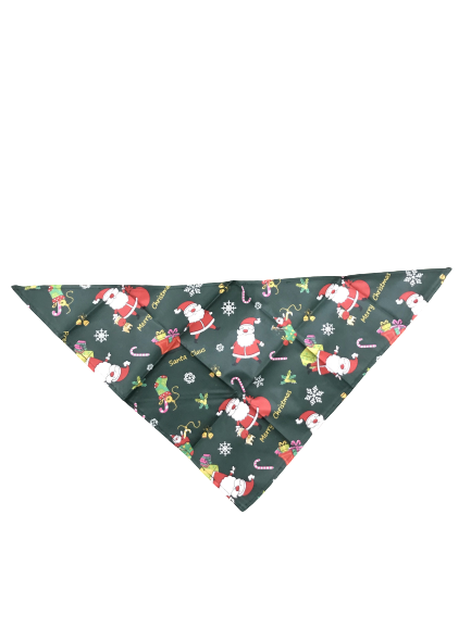CHRISTMAS PET DOG PUPPY BANDANA SCARF - MEDIUM SIZE - SANTA REINDEER CHRISTMAS TREE DESIGN