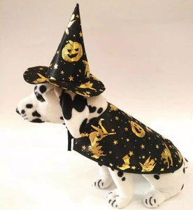 HALLOWEEN PARTY PET DOG PUPPY WIZARD WITCH HAT & COSTUME CLOTHING - NEW DESIGN - SIZE SMALL