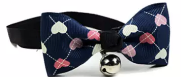 pet dog cat bow tie with bell love heart navy blue pawesome world of pets