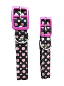 Lightweight black colour pink polka dots dog puppy collar