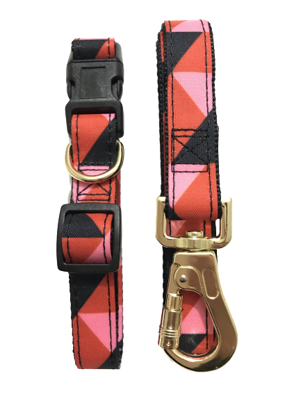 red black pink pattern dog collar & dog lead set gold tone d ring dog collar gold tone clasp dog lead