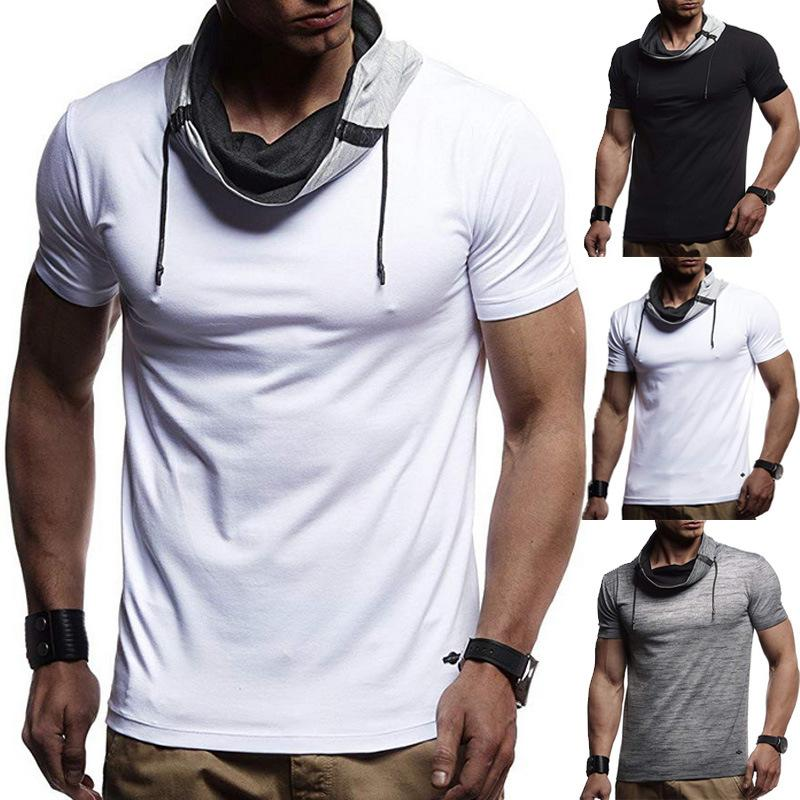 2020 Sports Men Short Sleeve Color Block Turtle Neck T-shirt Drawstring Slim Solid Color Tie Blouse Slim Fit