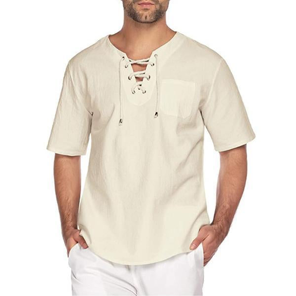 New Mens Short Sleeve T Shirt Cotton Linen Blend