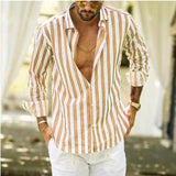 2020 Men Fashion Stylish simple lapel vertical stripes loose buttons long sleeve men's three-color shirt top