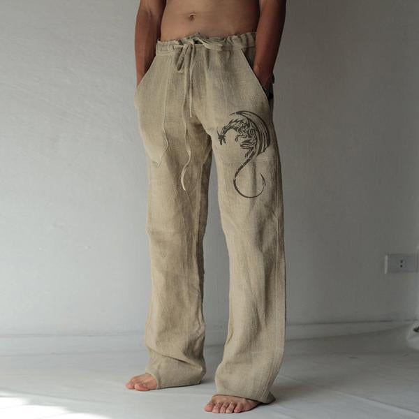 Loose Leisure Trousers Drawstring Elastic Solid Color Linen Straight Pants Dragon Totem