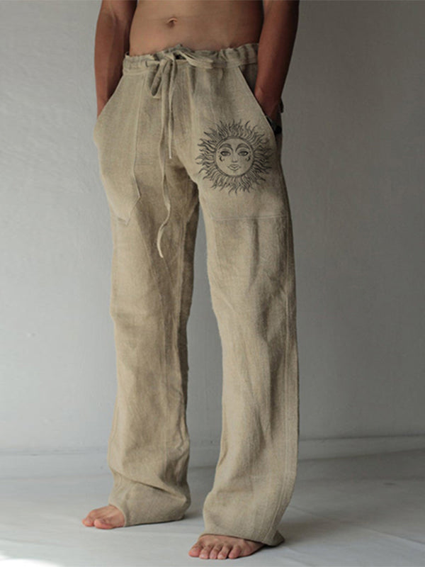 Loose Leisure Trousers Drawstring Elastic Solid Color Linen Straight Sun Totem