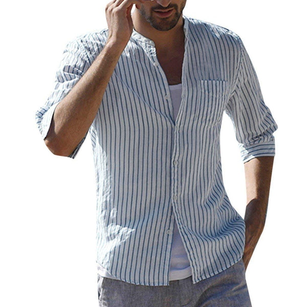 British Shirt Male Stripe Collage Linen Cardigan Shirts Five-sleeve T-shirt