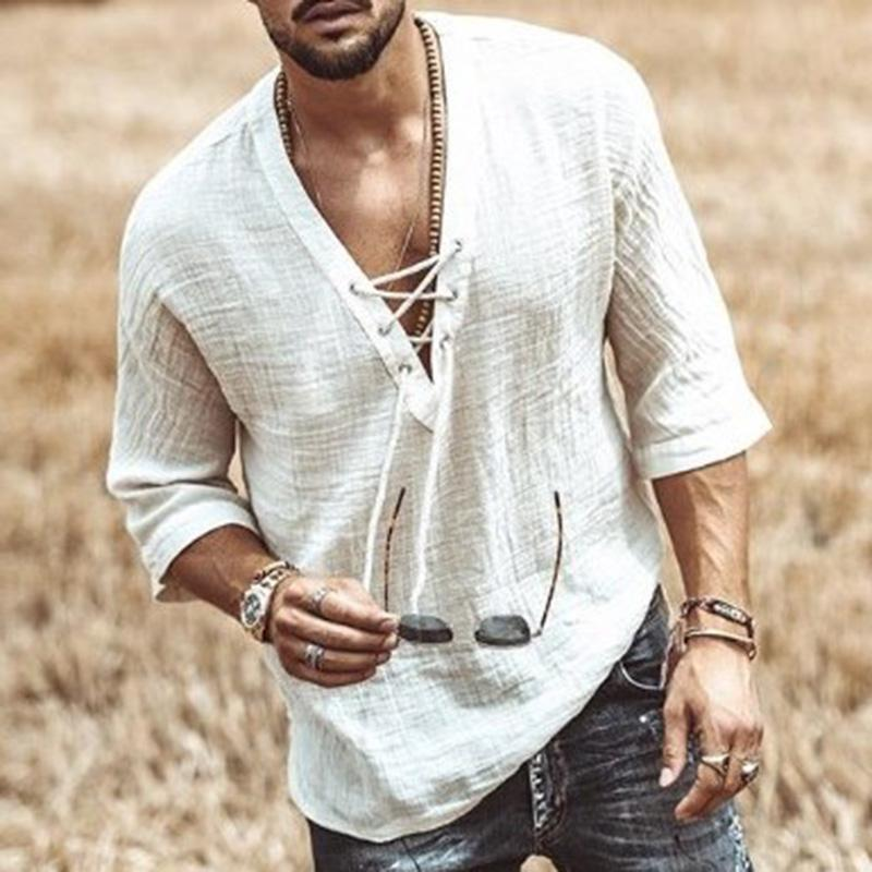 Chest Lace Up Long Sleeve Shirt V Neck Loose T-shirt