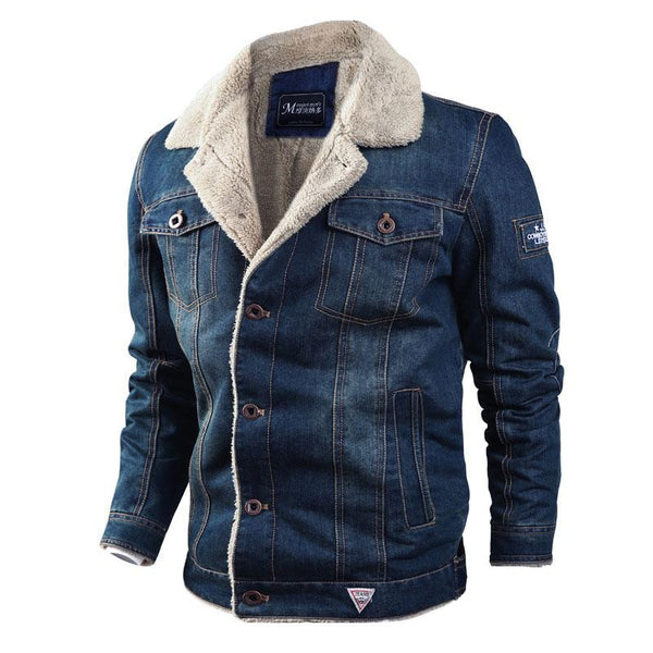 2020 Mens Winter Casual Warm Denim Jackets