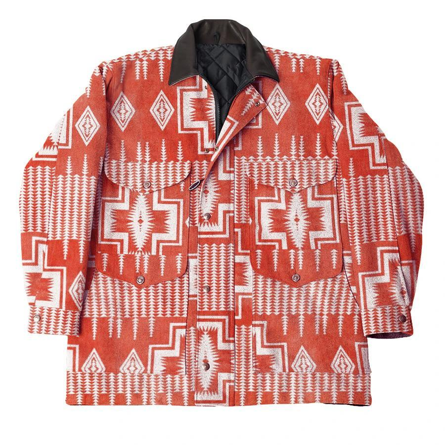 Retro ethnic pattern red jacket