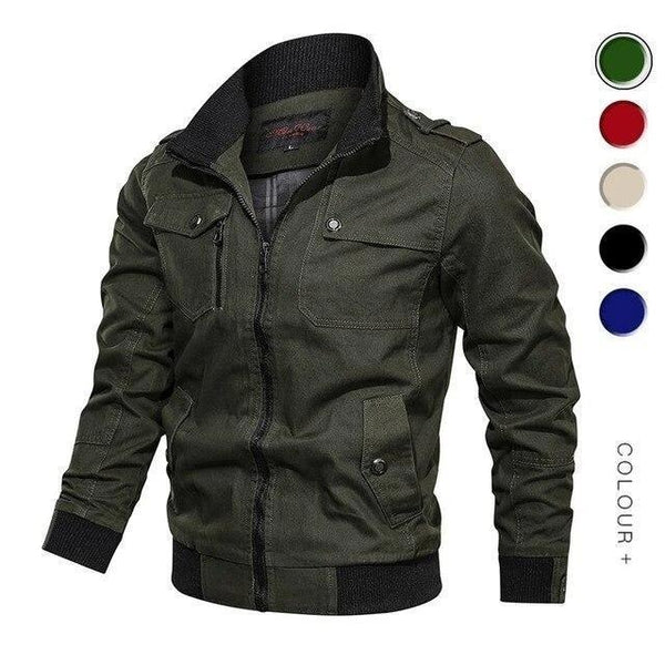 Men's Autumn Windbreaker Military Cargo Pilot Flight Bomber Jacket