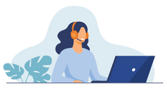 A Canadian Prescription Drug Customer Service Representative wearing a headset in front of a laptop. If you have any questions about ordering your medication, feel free to contact us and we will get back to you within one business day.