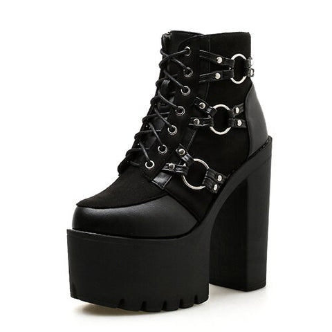Women's Black Motorcycle Boots