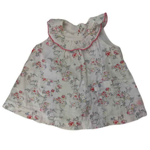 Pre-loved, Used, Secondhand, Babies, 0000, Petit Bateau, dress, Excellent, White, Summer, Spring, Flower, Babies Size 0000