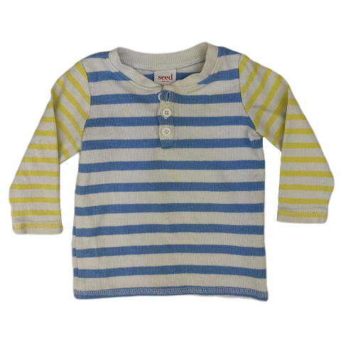 Pre-loved, Used, Secondhand, Babies, 00, Seed, t-shirt, Good, Blue, Yellow, Stylish, Babies Size 00