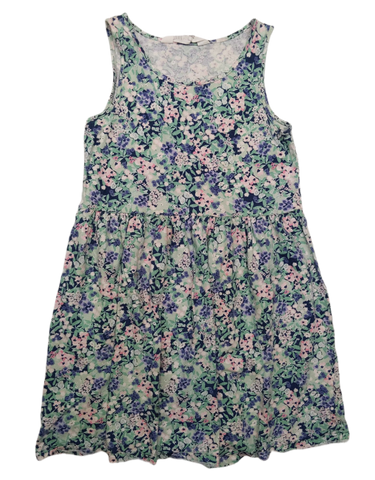 Preloved, Used, Secondhand, Girls, 9,10, H&M, dress, Excellent, Green, Spring, Flower, Girls Size 9,10,