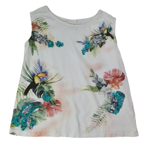 Pre-loved, Used, Secondhand, Girls, 9, Zara, top, Excellent, White, Summer, Animals, Girls Size 9