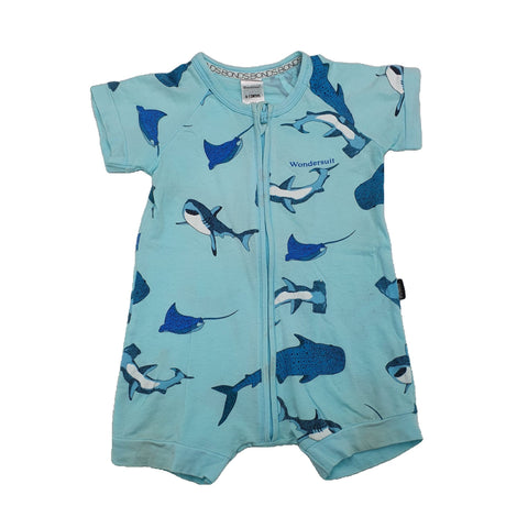 Romper Size 0 Bonds shark romper Junico Kids 3.99 Junico Kids sustainable affordable preloved baby kids clothing clothes local shop australia