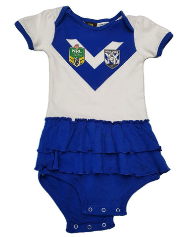 Romper Size 1 NRL Bulldogs romper Junico Kids 9.99 Junico Kids sustainable affordable preloved baby kids clothing clothes local shop australia