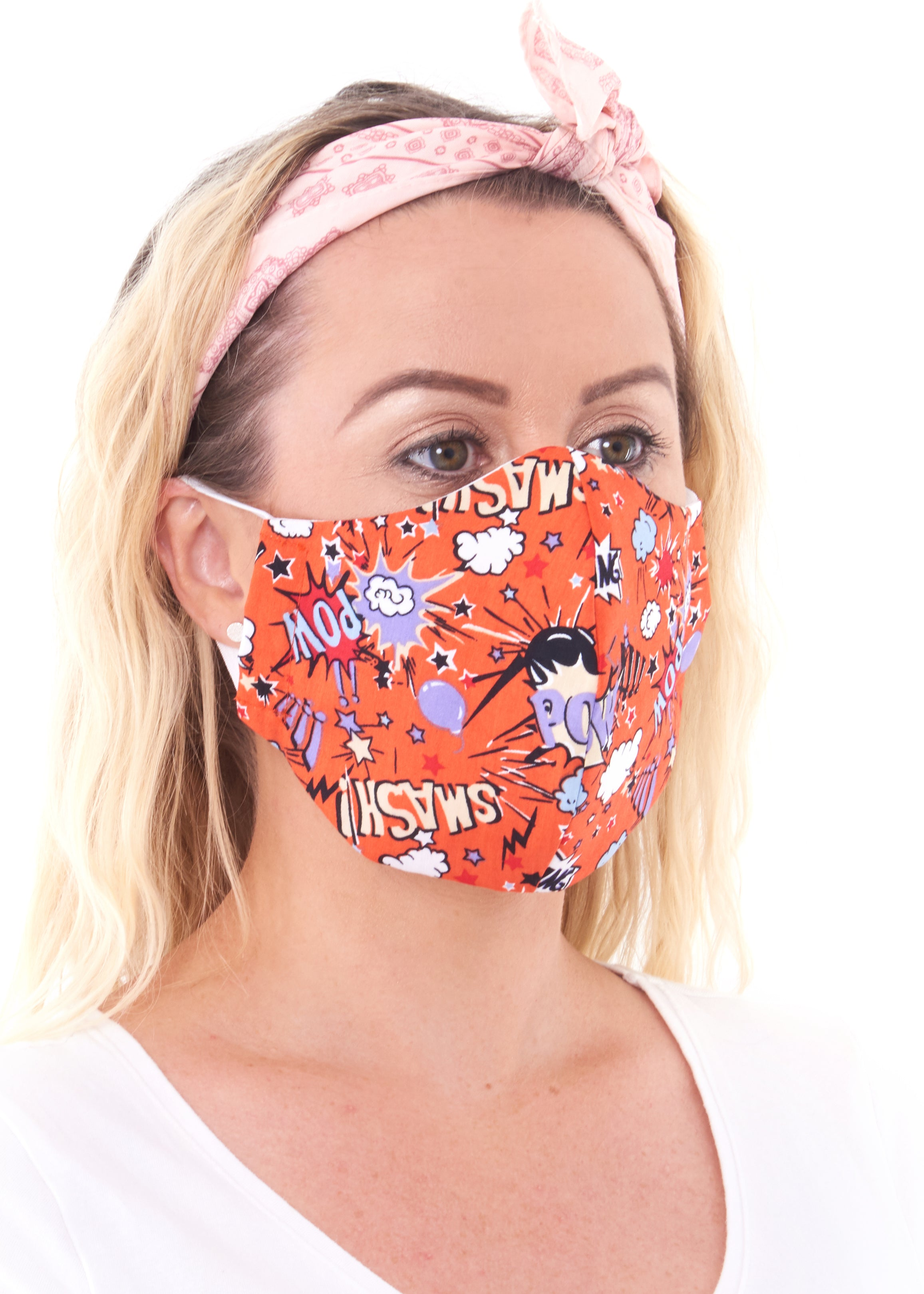 Medium size orange comic print charity face mask