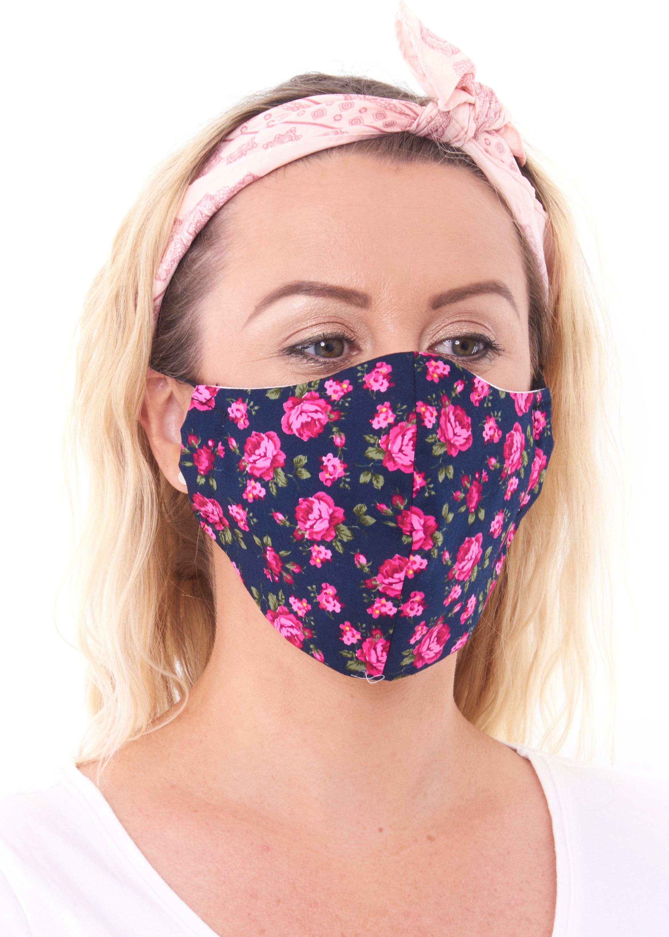 medium size rose flower print charity face mask, Charity Masks
