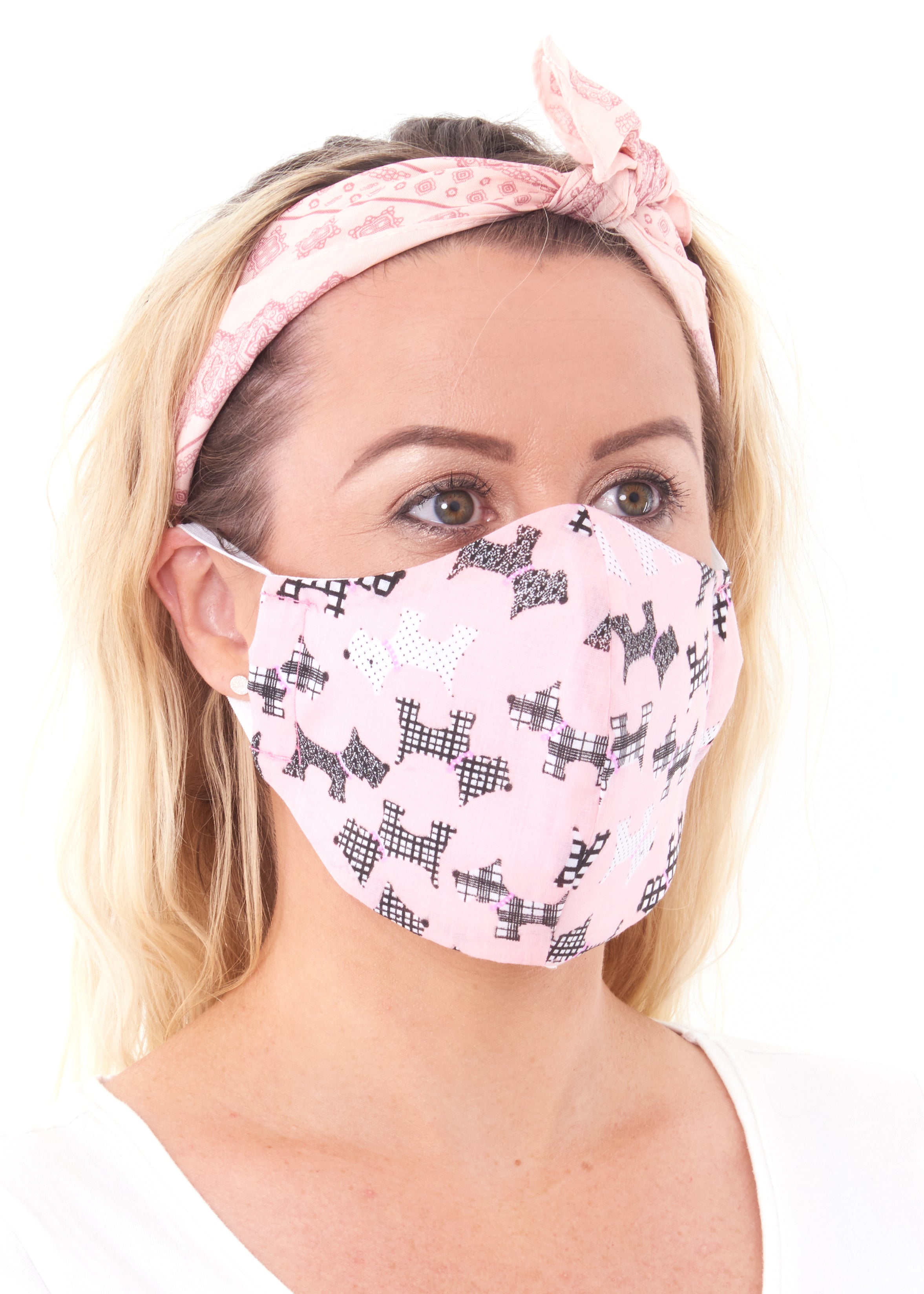 ladies large pink scottie dog face mask, charity masks
