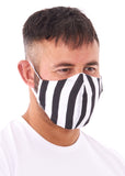 large black and white striped charity face mask,  charity face masks