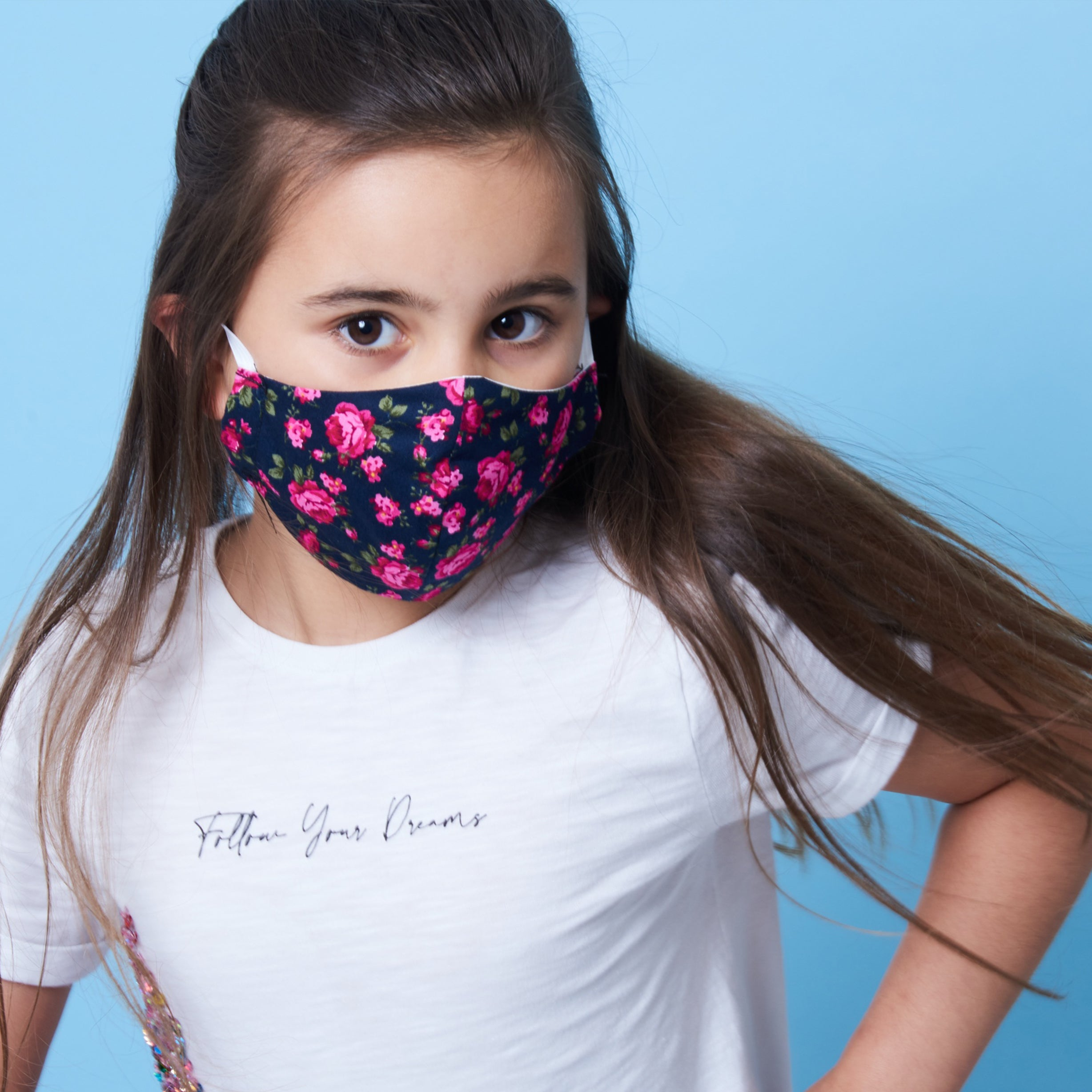 Charity Masks, childs rose print charity face mask