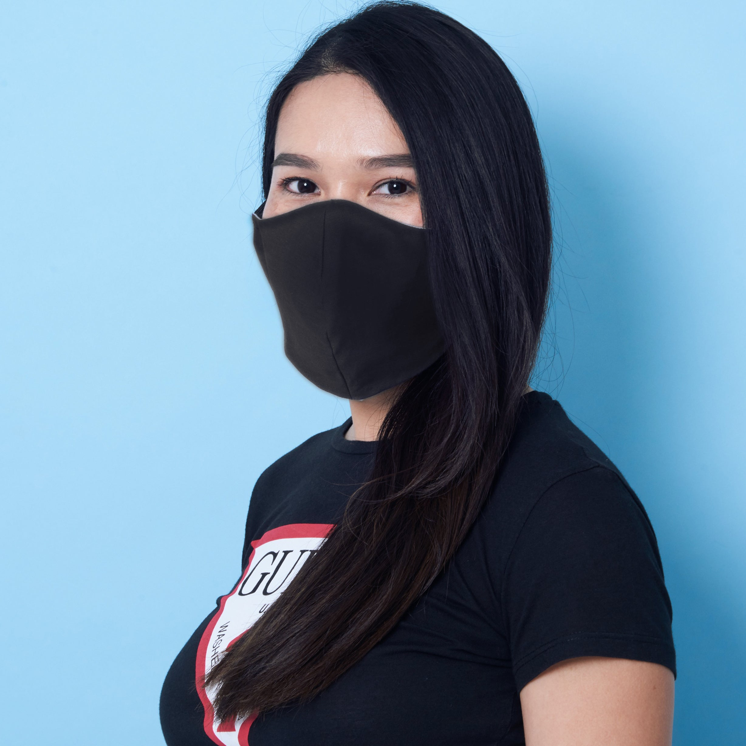 medium size black charity face mask - charity masks