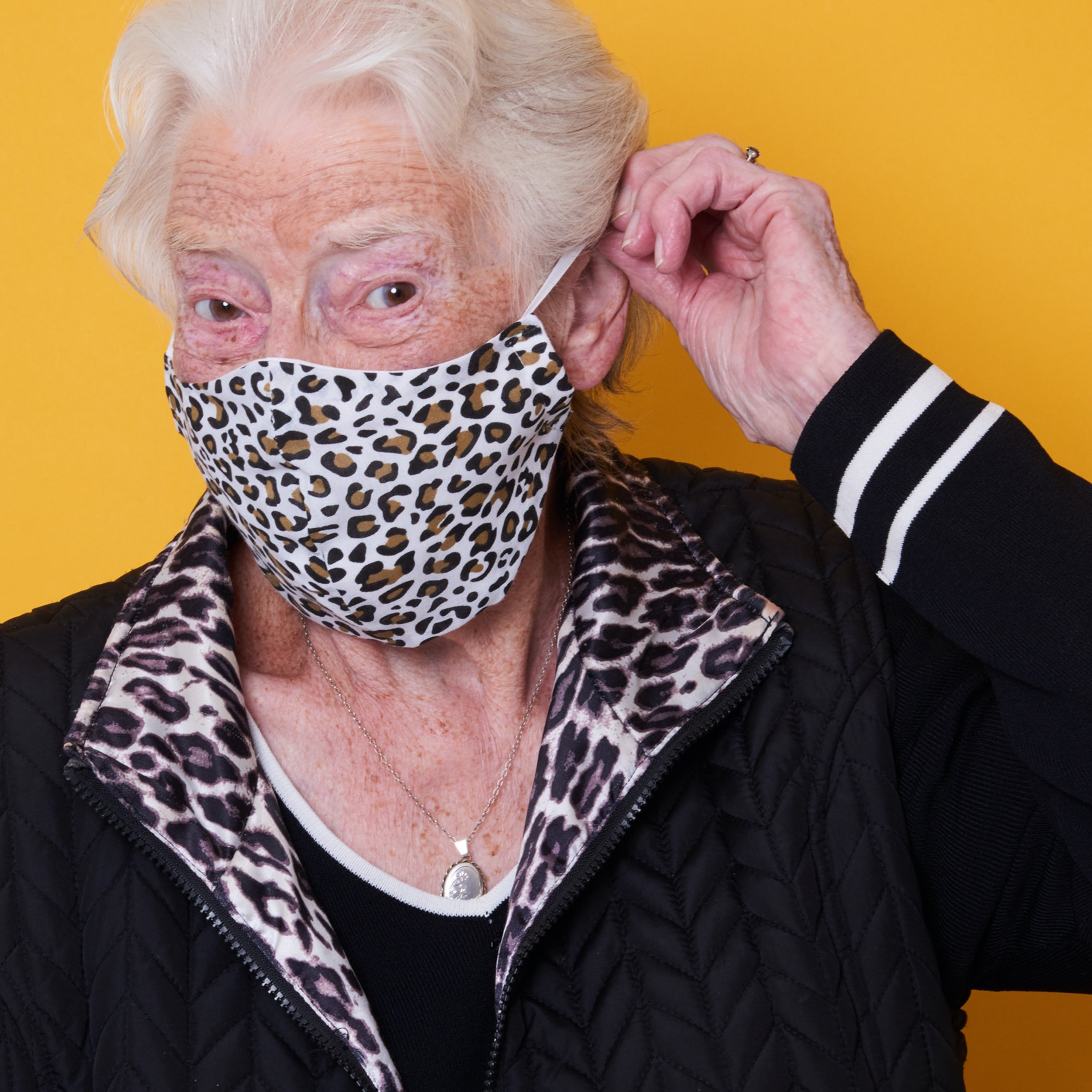 adults large leopard print charity face mask, charity masks
