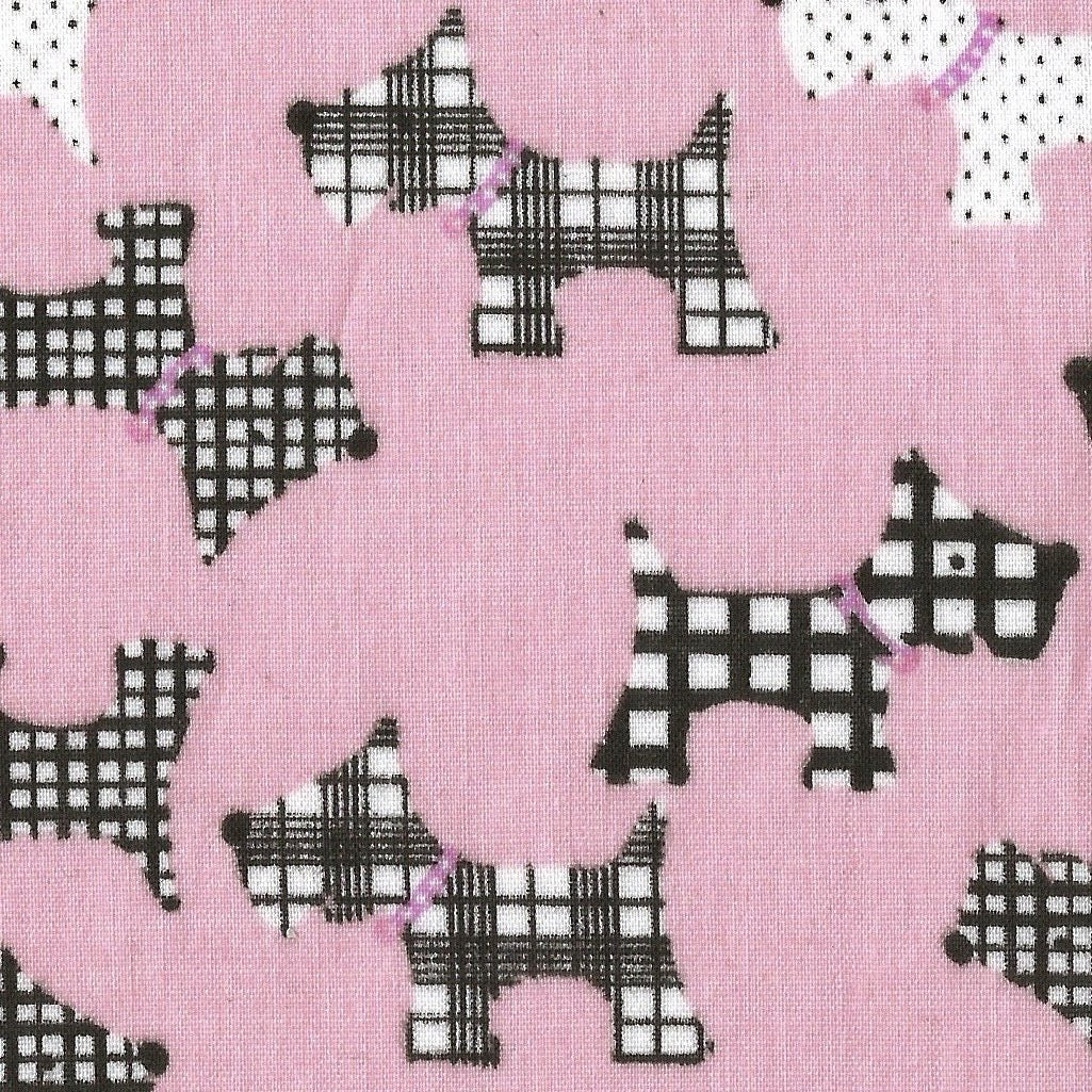 medium size pink scottie dog print face mask, charity masks