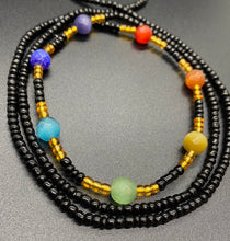 Load image into Gallery viewer, Black Chakra Waist Beads