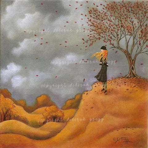 """Mistakes,"" a Fall Autumn Wind Countryside Print by Deborah Gregg"