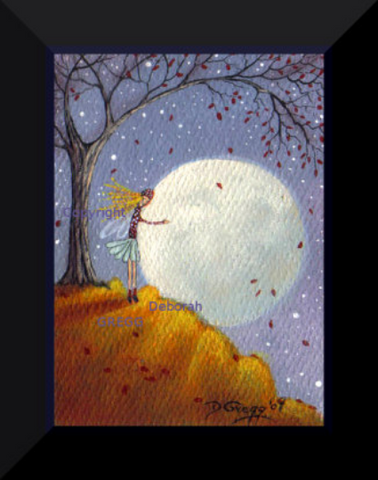"""Blue Corn Moon and Friend,"" a tiny aceo Autumn Fairy PRINT by Deborah Gregg"