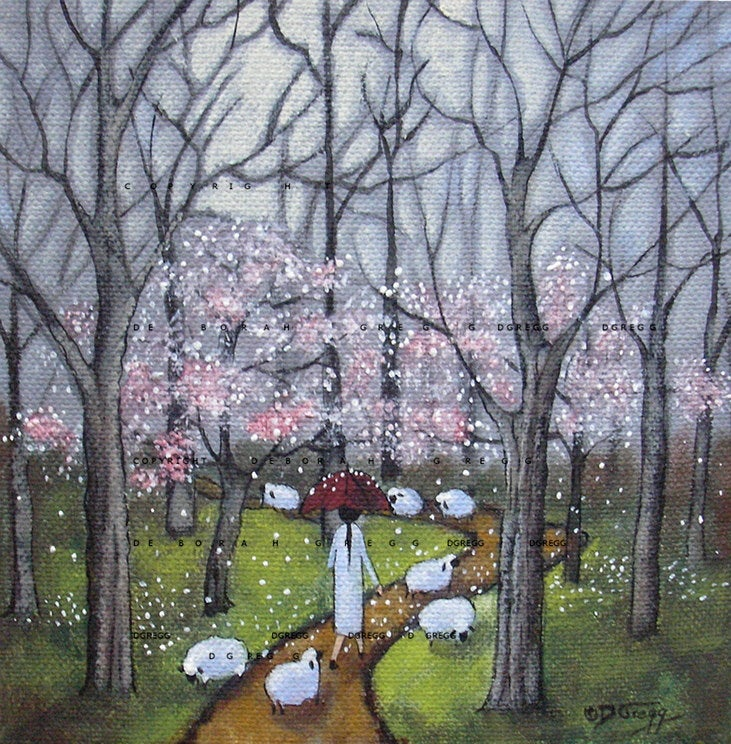 """Forest Trail"" a Small Woods Forest Sheep PRINT by Deborah Gregg"