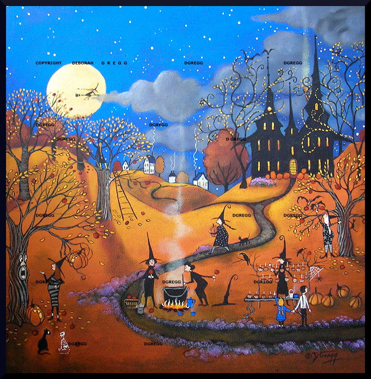 """The Best Caramel Apples In Town,"" a small Halloween Witches Jack O Lanterns PRINT by Deborah Gregg"