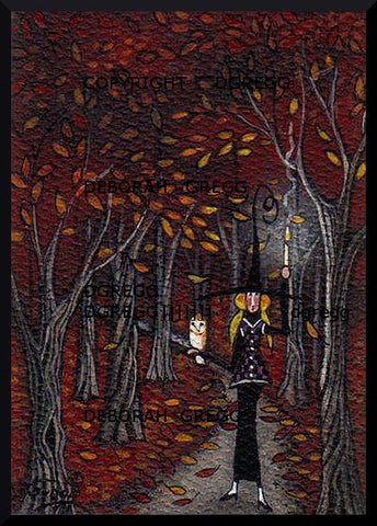 """Halloween Stroll With A Friend,"" a Tiny Witch Owl Woods PRINT by Deborah Gregg"